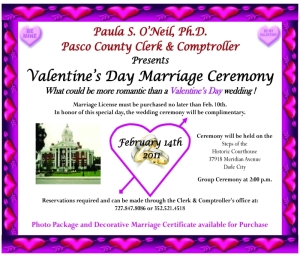 Complimentary Valentine's Day Group Wedding Ceremony in Pasco County